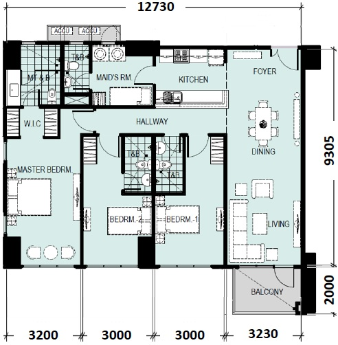 Escala salcedo ryan rey data for 3 bedroom unit floor plans