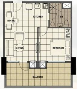 1 Bedroom Floor Plan | 40.20 sqm - 56.61 sqm