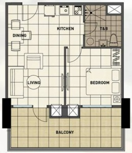 1 Bedroom Floor Plan | 40.20 sqm - 56.61 sqm