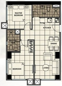 2 Bedroom Floor Plan | 61.62 sqm - 106.75 sqm