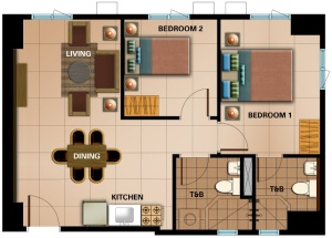 2 Bedroom Floor Plan | 58.20 sqm - 65.23 sqm