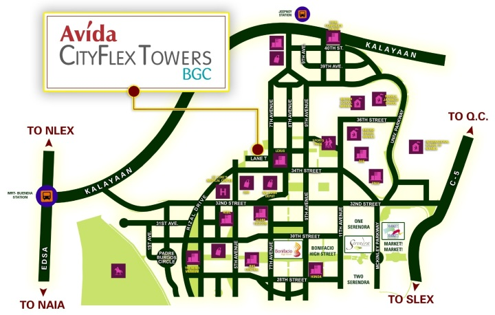 Avida CityFlex Towers BGC Vicinity Map