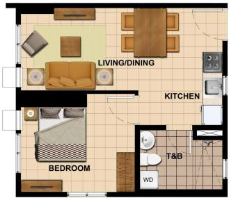 1 Bedroom Floor Plan | 34.80 sqm - 44.49 sqm