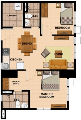2 Bedroom Floor Plan | 56.36 sqm - 71.56 sqm