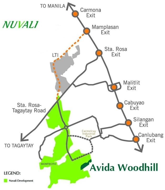 Avida Woodhill Settings NUVALI Vicinity Map