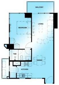 1 Bedroom (Corner) Floor Plan | Approximately 64 sqm - 69 sqm