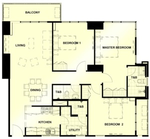 3 Bedroom Floor Plan | Approximately 128 sqm