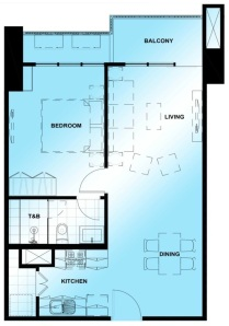 1 Bedroom Floor Plan | Approximately 64 sqm - 69 sqm