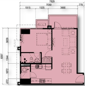1 Bedroom Floor Plan Unit 03 & 15 | Approximately 48 sqm - 55 sqm