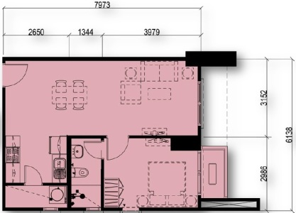 1 Bedroom Floor Plan Unit 08 | Approximately 48 sqm