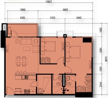 2 Bedroom Floor Plan Unit 07 & 11 | Approximately 78 sqm - 84 sqm
