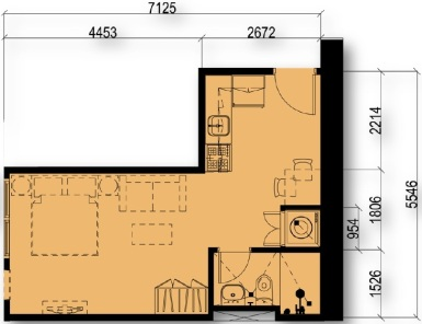 Studio Floor Plan Unit 01 & 17 | Approximately 31 sqm