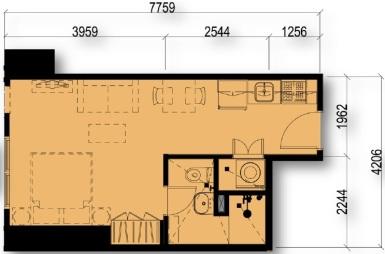 Studio Floor Plan Unit 02 & 16 | Approximately 29 sqm
