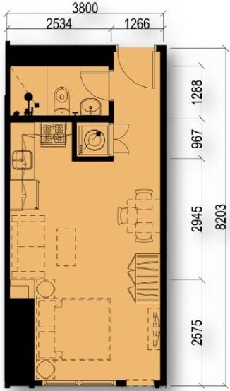 Studio Floor Plan Unit 05, 06, 09, 10, 12 & 14 | Approximately 30 sqm