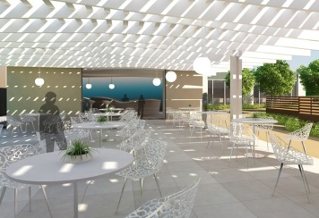 Outdoor Seating and Juice Bar - Artist's Perspective