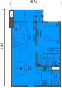1 Bedroom Floor Plan | Approximately 62 sqm