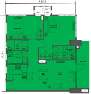 2 Bedroom Floor Plan | Approximately 79 sqm