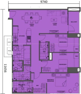 3 Bedroom Floor Plan | Approximately 109 sqm