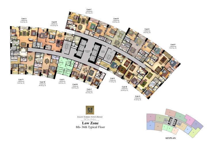Eight Forbes Town Road | Low Zone | 8th-36th Typical Floor Plan