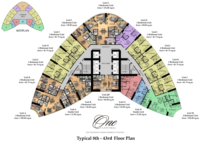 One Central | 8th-43rd Typical Floor Plan